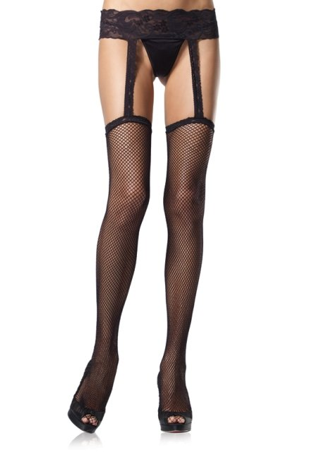 Fishnet Stockings with Attached Lace Garterbelt