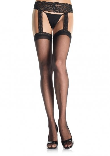 Sheer Lace Top Stockings with Attached Lace Garterbelt