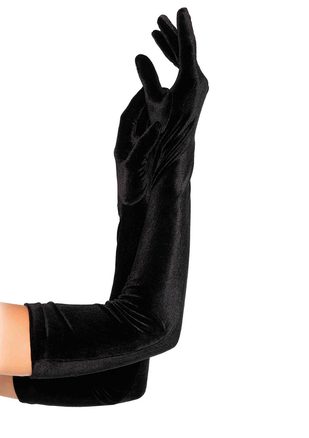 Black Stretch Velvet Opera Length Gloves