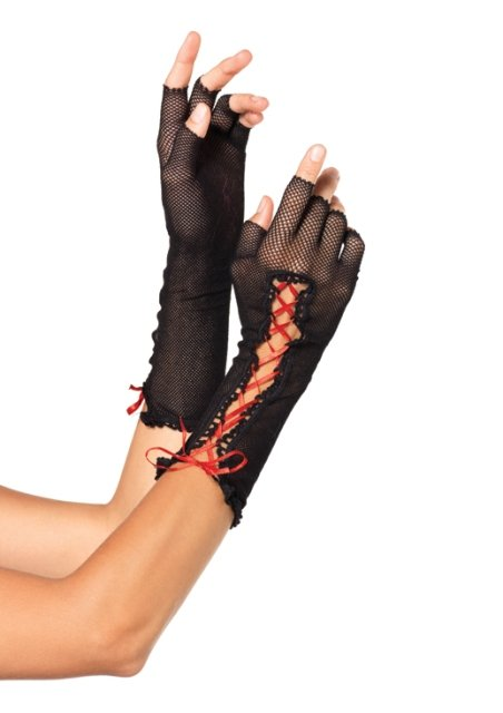 Lace Up Fishnet Elbow Length Fingerless Gloves