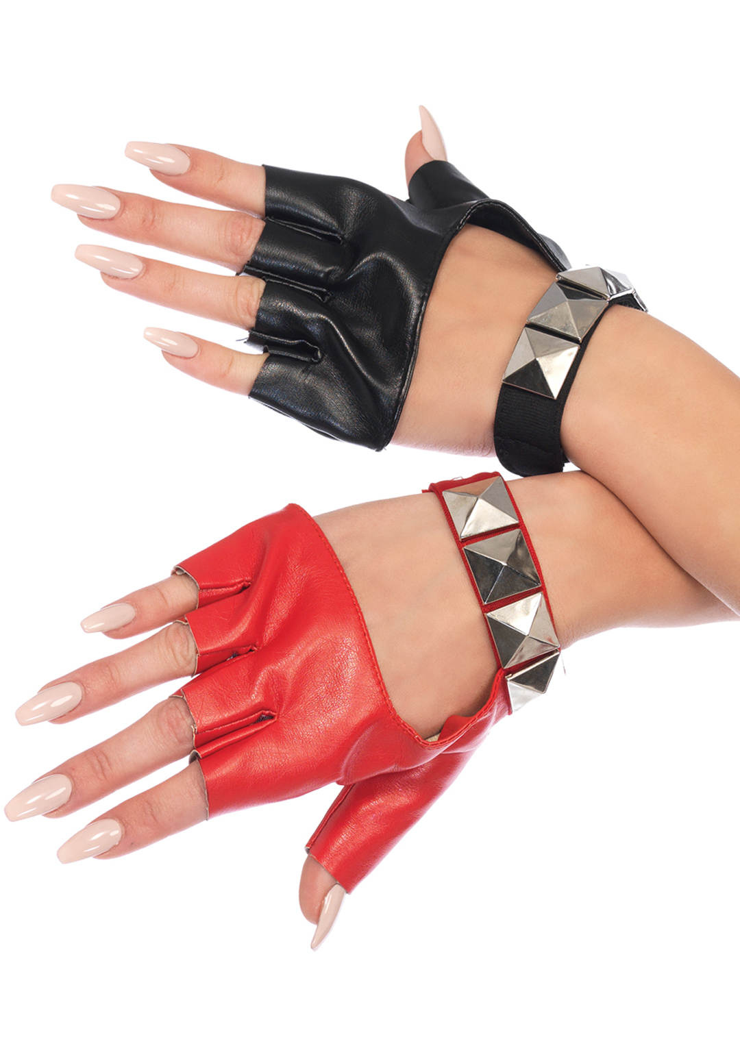 Harley Two-Tone Studded Fingerless Gloves