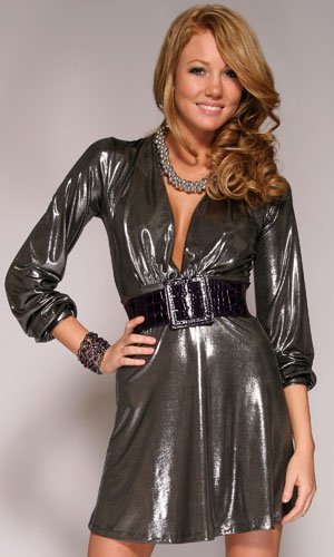 Agate Long Sleeve Shimmering Dress With Deep V-Neckline