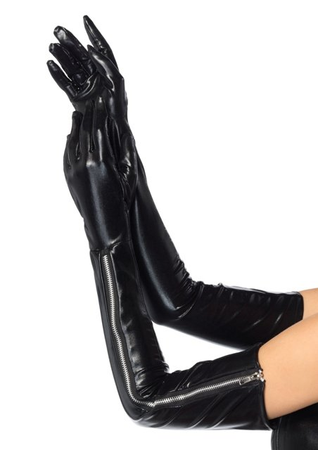 Wet look opera length zipper gloves