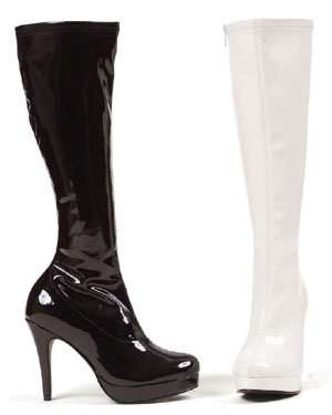 4 Inch Patent Knee Boots with Zipper