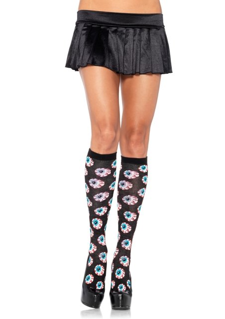 Spandex Acrylic Creepy Eyeball Knee Highs