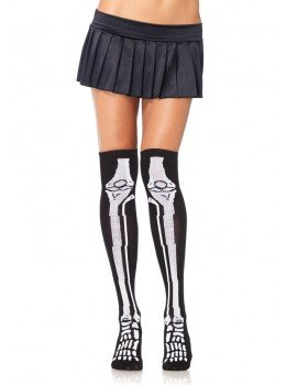 Acrylic Skeleton Over The Knee Socks