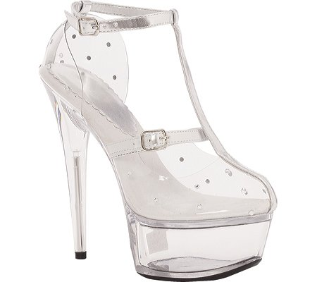 "609-Gia Clear 6"" Stiletto Heel T Strap with Rhinestone Accents"