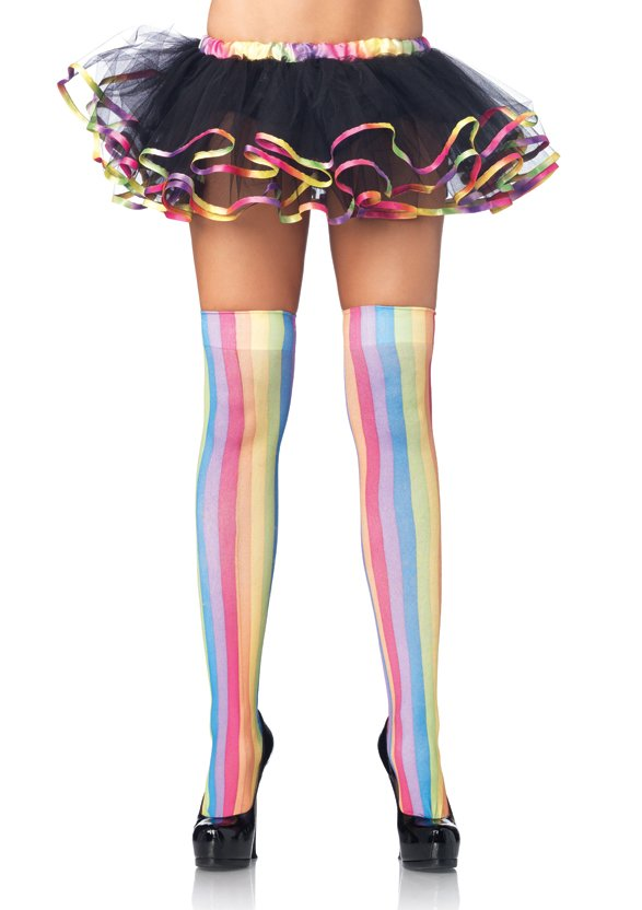 Rainbow Striped Thigh Highs