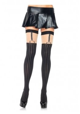 Spandex Opaque Pinstriped Suspender Thigh Highs