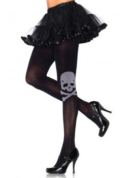 Skull & Crossbone Spandex Opaque Tights