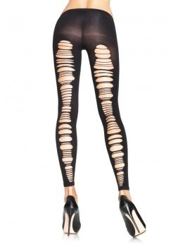 Spandex Shredded Back Opaque Footless Tights