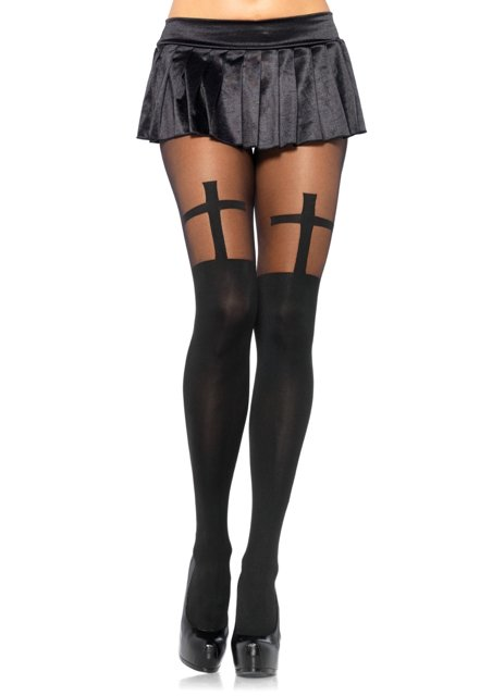 Opaque Cross Pantyhose with Sheer Thigh Highs Accent