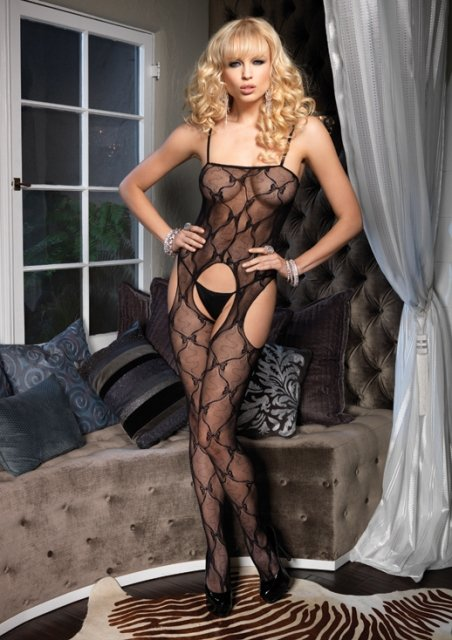 Bow Lace Suspender Bodystocking