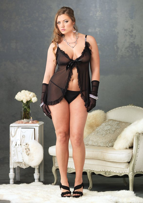 Tie Front Ruffle Trimmed Mesh Babydoll Plus Size Lingerie Set