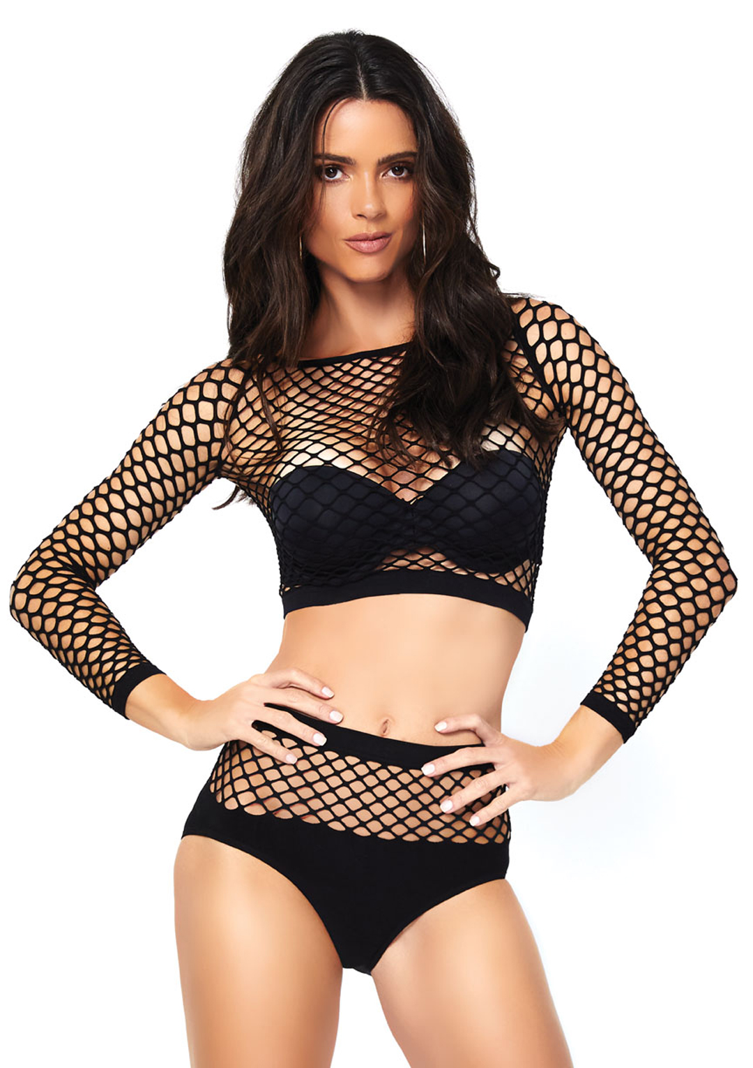 Industrial Net Long Sleeved Crop Top and High Waist Bottom