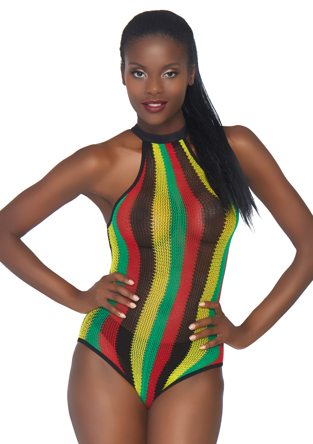 Rasta Bodysuit with Snap Crotch