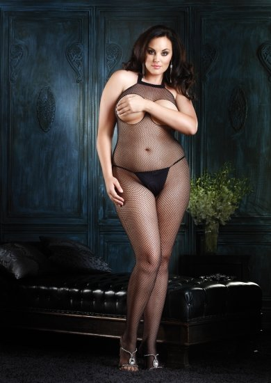 Seamless Halter Cut Out Bust Fishnet Bodystocking Plus Size
