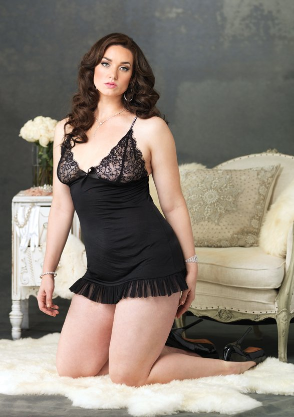 Spandex Chemise and G-String Plus Size Lingerie Set