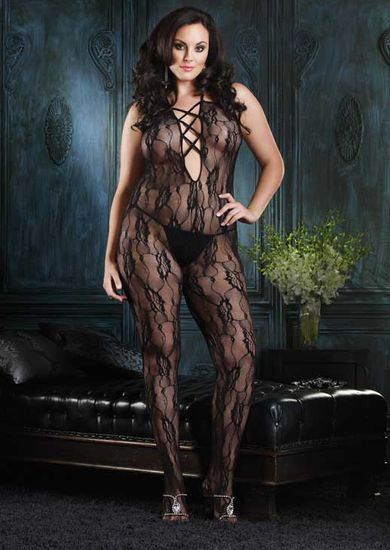 Romantic Lace Criss Cross Strap Bodystocking Plus Size