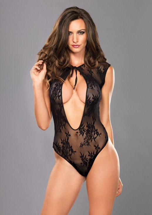 Stretch Lace G-String Teddy with Keyhole Tie Front