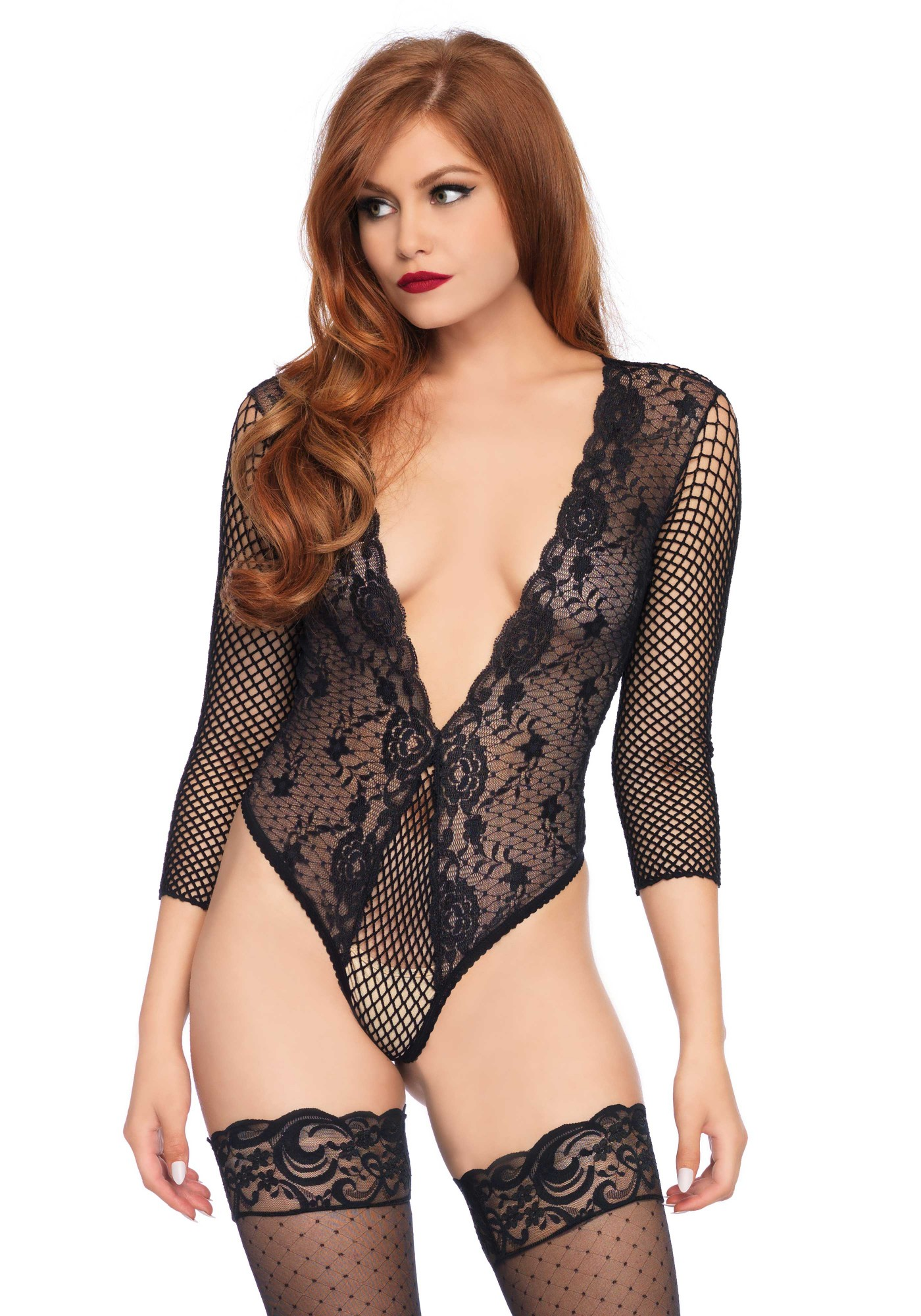 High Cut Lace and Net Teddy