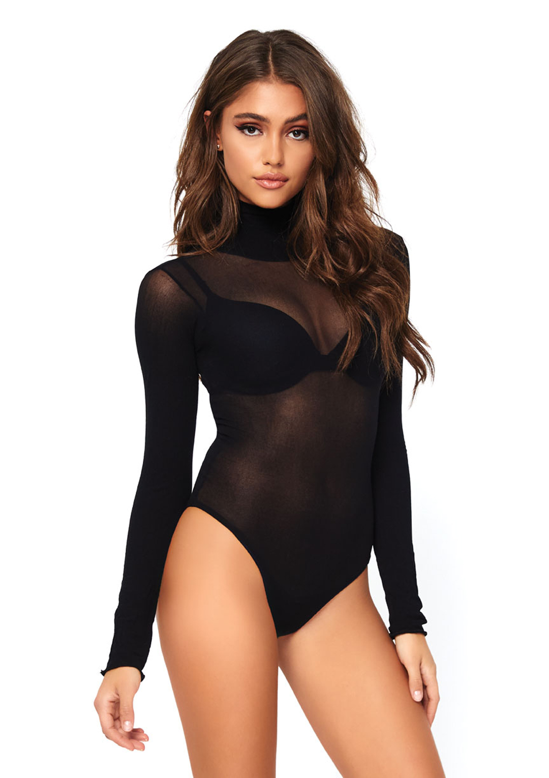 Opaque High Neck Long Sleeved Bodysuit
