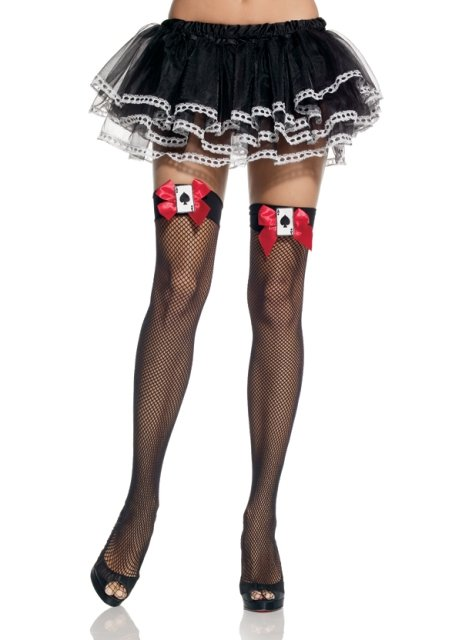 Fishnet thigh highs with satin bow and playing card applique