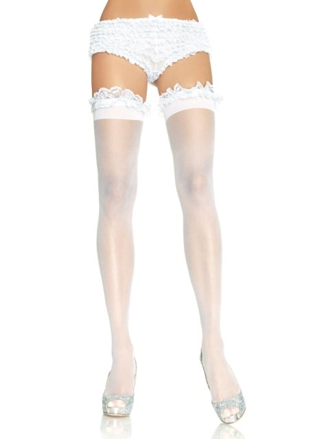 Sheer thigh highs with garter lace ruffle top