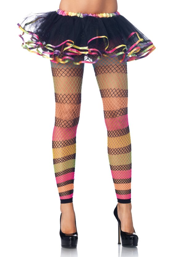 Rainbow Fishnet Footless Tights