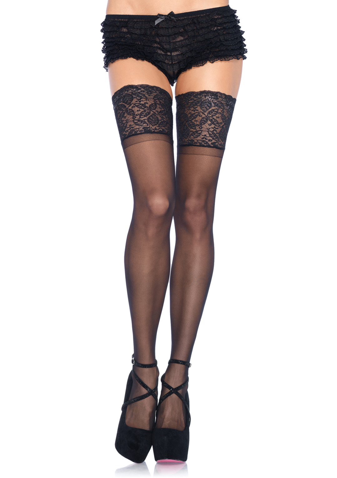 Spandex Sheer Thigh Highs with 5 Inch Silicone Stay UP Lace Top - MORE COLORS