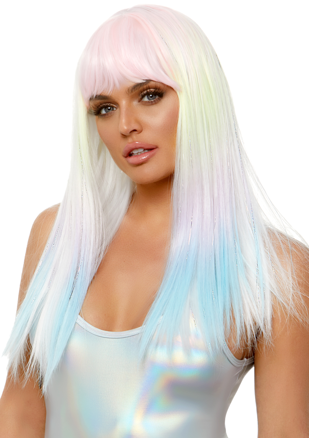 Straight Bang Pastel Ombre Wig With Tinsel