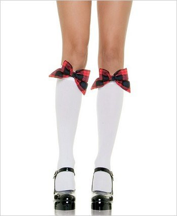 Opaque Knee Highs with Plaid Bow