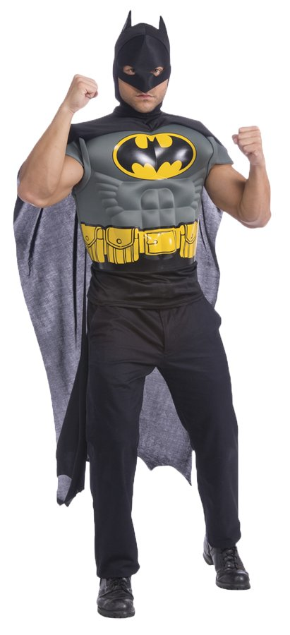 Adult Batman Muscle Shirt, Cape and Mask Costume