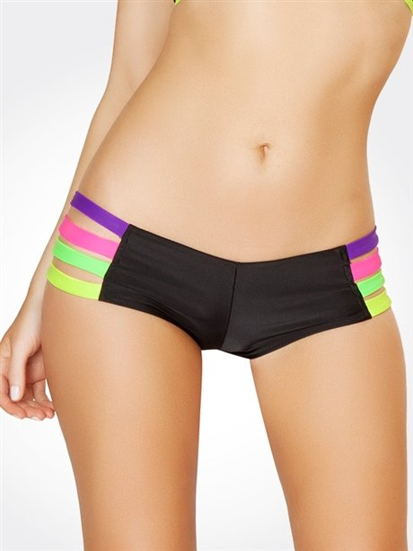 Black Rainbow Strappy Hot Pants