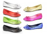 Glitter Costume Flats with Bow - MORE COLORS