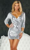 Hisarya - 3/4 sleeve sequin dress with plunging v-neck