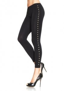 Seamless leggings with gold studded side
