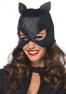 Faux leather cat mask with corset lace up back