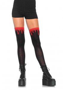 Dripping Blood Woven Over The Knee Socks