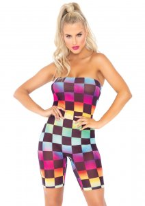 Rainbow Checkerboard Mesh Strapless Romper
