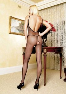 Seamless Spaghetti Strap Fishnet Bodystocking with Deep V Back