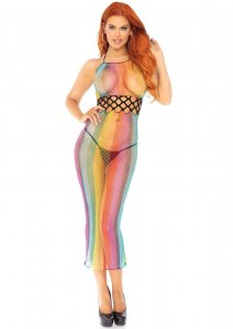Rainbow Fishnet Halter Dress