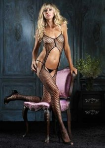 Industrial Net Suspender Bodystocking with Ruffle And Rhinestones