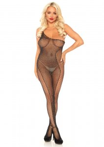Rhinestone Asymmetrical Bodystocking