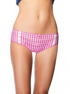 Cotton Gingham Boyshort with Daisy Applique